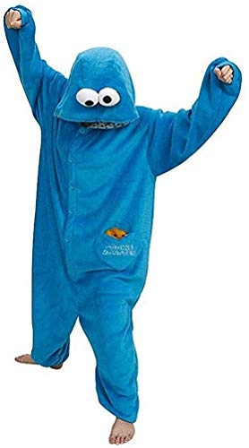 SMITHROAD Jumpsuit Tier Karton Fasching Halloween Kostüm Sleepsuit Cosplay Fleece-Overall Pyjama Schlafanzug Erwachsene Unisex Nachtwäsche,blau, Gr. M