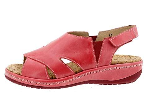 Calzado mujer confort de piel color rojo (PieSanto)