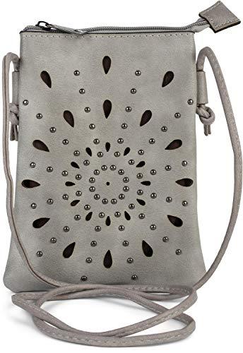 styleBREAKER Dames Mini-Tas Schoudertas met uitsparingen in etnobloemvorm en studs, schoudertas, handtas, tas 02012304, Farbe:Grijs