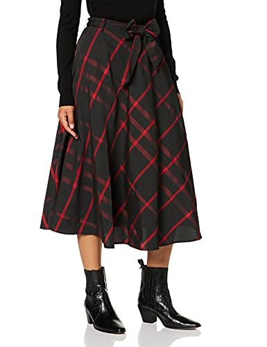 Joe Browns Vintage Check Skirt Gonna, Nero/Rosso, 40 Donna
