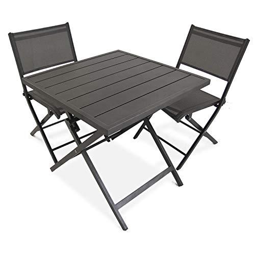 Edenjardi Conjunto para Exterior, Mesa Plegable 70 cm y 2 sillas Plegables, Aluminio Antracita, Textilene Color Plata y Negro, 2 plazas