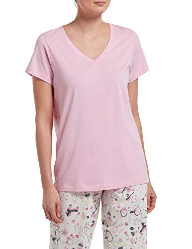 HUE Women's Short Sleeve V-Neck Sleep Tee, Lilac, Small