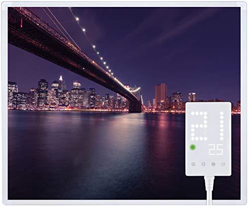 Heidenfeld Infrarotheizung HF-HP105 mit Fotomotiven - 10 Jahre Garantie - Deutsche Qualitätsmarke - TÜV GS - 300/360 / 450/600 / 720/1000 Watt - 3-25 m² (1000 Watt, Brooklyn Bridge)