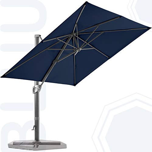 BLUU 10 FT Square Patio Umbrella Offset Cantilever Outdoor Umbrella Aluminum Market Hanging Umbrellas with 360° Rotation Device and Unlimited Tilting System & Cross Base (Navy Blue)