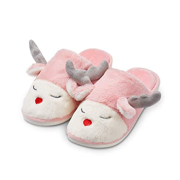 Slippers for Women, Women's Slippers of Cute Reindeer Designs, House Slippers for Women with Memory Foam Size 7 8 9 10 11 for Couples