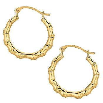 10k Yellow Gold Shiny Bamboo Round Hoop Earrings Diameter 18mm