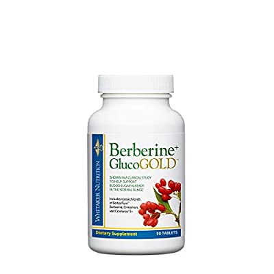 Dr. Whitaker's Berberine+ GlucoGold Supplement for Clinically Validated Blood Sugar and Cholesterol Support with Berberine, Crominex 3+ Chromium, and Cinnamon (90 Tablets) from Whitaker