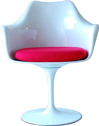 ABCインテリア チューリップチェアー アーム付 XS-058 フレーム(WH)xシート(RD) リプロダクト品 チューリップチェア アームチェア エーロ・サーリネン Tulip Arm Chair デザイナーズチェア ミッドセンチュリー 北欧 回転式