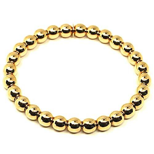 Pulsera elástica de oro amarillo de 18 quilates, bolas, grosor de 6 mm, fabricada en Italia.