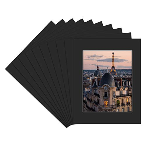 Golden State Art, Pack of 10 11x14 Black Picture Mat Set with White Core Bevel Cut for 8x10 Pictures