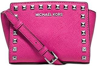 Michael Kors Selma Mini Stud Messenger Bag Raspberry Pink