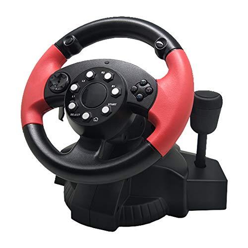 Ashey Volant de Jeu de Course, Voiture pour PS3 / PS4 PC émulateur Console de Rotation à 200 degrés Gamepad Double Moteur, pour D-Input/X-Input/Steam