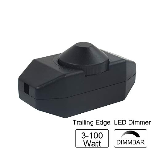 VIPMOON LED dimmer, dimmerabile all'infinito da 3-100 Watt (dimmer rotativo) LED dimmerabile, Acceso-spento, 220V-240V, interruttore dimmer CE, Nero, Nessun rumore[Classe di efficienza energetica A+]