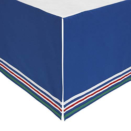 ED Ellen DeGeneres Doodle Dog - 100% Cotton Crib Skirt, Navy with Multi Stripe Border, Royal, Yellow, Red