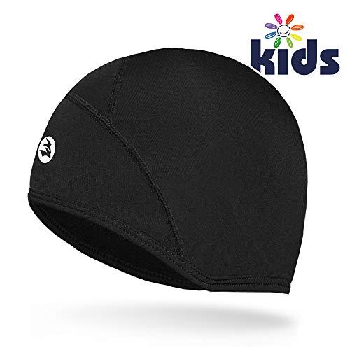 EMPIRELION Kids Helmet Liner Teens Thin Thermal Skull caps Cover Ears Beanie Child Running Hats for Boy & Girl (Black:Kids)
