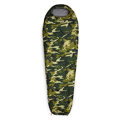 Lumaland Outdoor Saco de Dormir, ca. 230 x 80 cm, Bolsa de Transporte incluida, ca. 50 x 25 cm, Verde Mimetico