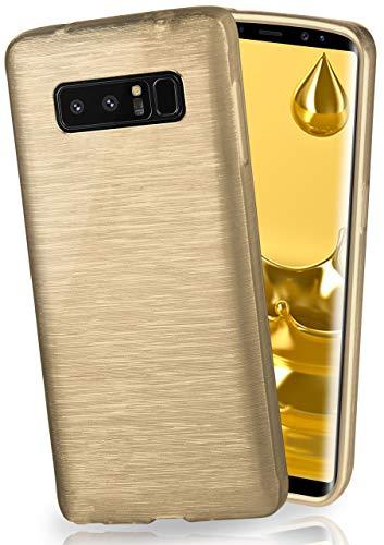 moex Stylische Brushed Aluminium-Optik und starker Grip | Ultra dünne Silikonhülle passend für Samsung Galaxy Note8 in Gold