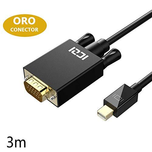 ICZI Cable Mini Displayport to VGA 3 Metros, Cable Adaptador Thunderbolt 2 / Mini Displayport a VGA 1080p con Conector Chapado en Oro, Macho a Macho para PC Ordenador Air Surface, etc
