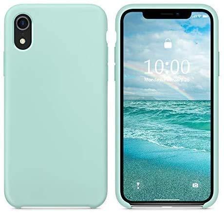 Funda de Silicona Silicone Case para iPhone XR, Tacto Sedoso Suave, Carcasa Anti Golpes Duradera y Resistente, Bumper, Forro de Microfibra, (Verde Mar)