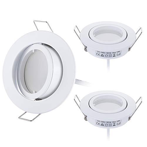 3er set LED Einbaustrahler Dimmbar Weiß Schwenkbar 5W flach 230V Einbau-Spot Strahler Einbauspot, 68mm Bohrloch, Warmweiß 3000K
