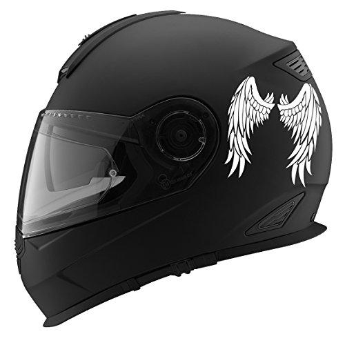 Angel Wings Design Auto Car Racing Motorcycle Helmet Decal - 5' - White