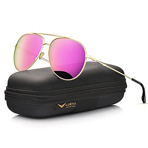LUENX Damen flieger-sonnenbrille polarisierten spiegel mit fall uv 400 schutz 60mm rose rot