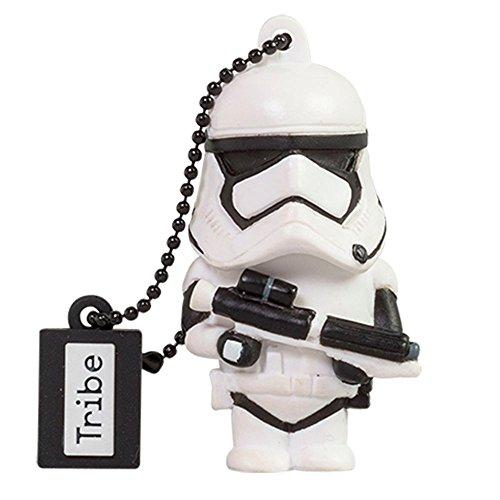 Tribe Disney Star Wars Stormtrooper TFA Clé USB 16 Go Fantaisie Pendrive USB Flash Drive 2.0 Originale Stockage Memoire, Idee Cadeau Figurine 3D, Stockage USB en PVC avec Porte-Clés – Blanc