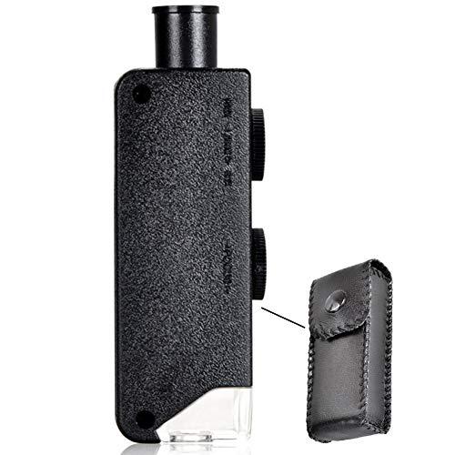 Lunchbox.com sieraden handwerk beoordeling microscoop HD, zakloep draagbaar met LED-licht, 100 x 60 mini-microscoop, verstelbaar, porselein, antiek druk