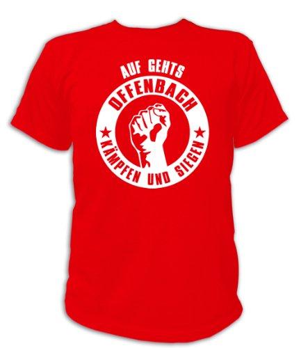 Artdiktat T-Shirt Auf geht´s Offenbach kämpfen und Siegen Unisex, Größe XXL, rot