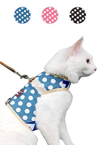 Yizhi Miaow Escape Proof Cat Harness with Leash Large, Adjustable Cat Walking Jackets, Padded Cat Vest Polka Dot Blue