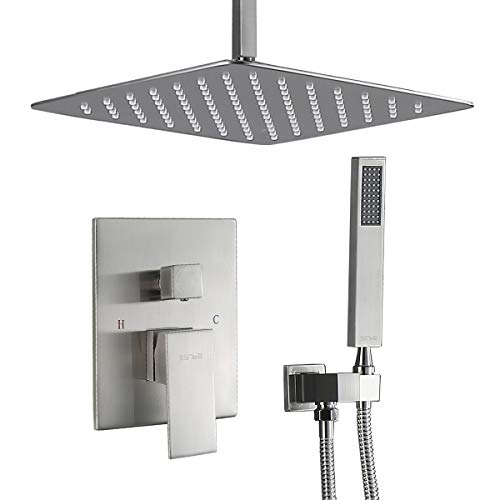Esnbia Ceiling Shower System Brushed Nickel with Valve and 12