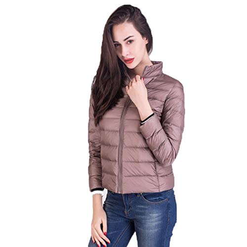 Packbar dunjacka kvinnor stående krage ultralätt kort vinter puffer kappa med handbagage väska S-XXXL