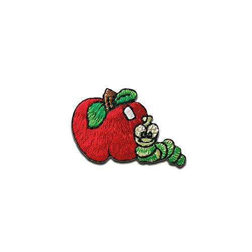 manzana con gusano fruta - Parches termoadhesivos bordados aplique para ropa, tamao: 3,5 x 2,2 cm