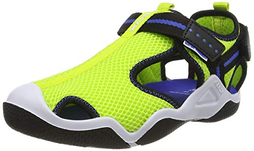 Geox JR Wader A, Sandali Sportivi, Lime Electric Blue, 33 EU