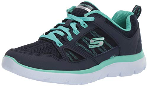 Skechers Damen Summits-New World Sneaker, Blau (Navy Leather/Mesh/Turquoise Trim Nvtq), 40 EU