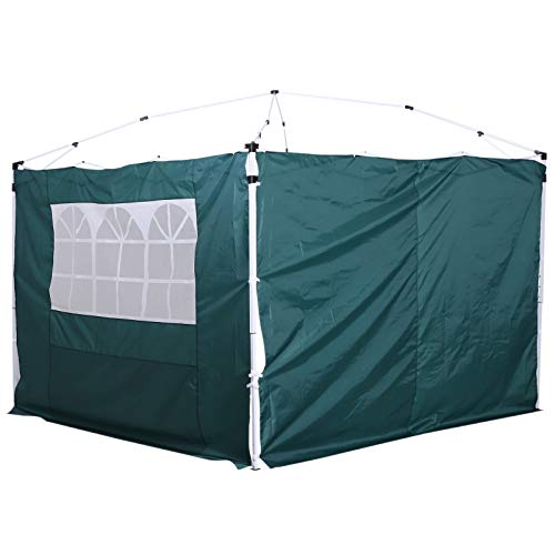 Outsunny 3 Meters Gazebo Replaceable Exchangeable Side Panel Wall Panels Walls With Window 3 colours (Green)