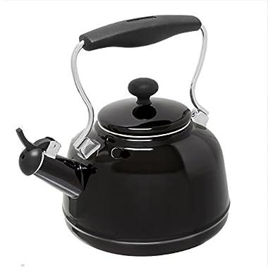 Chantal 37-VINT BK Enamel on Steel Vintage Teakettle, 1.7 quart, Black