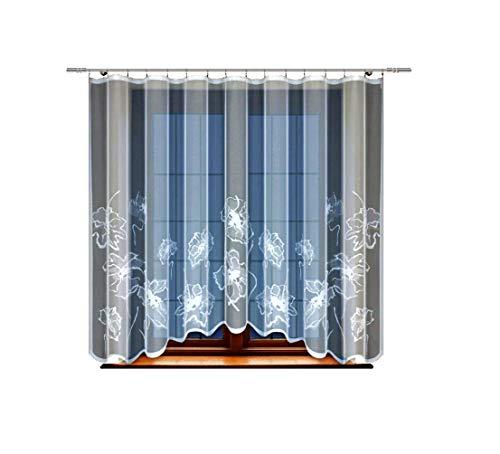 HAFT® Gardine; Store; Vorhang transparent, elegant weiß, Kräuselband, Blumenmuster (160 x 300 cm)