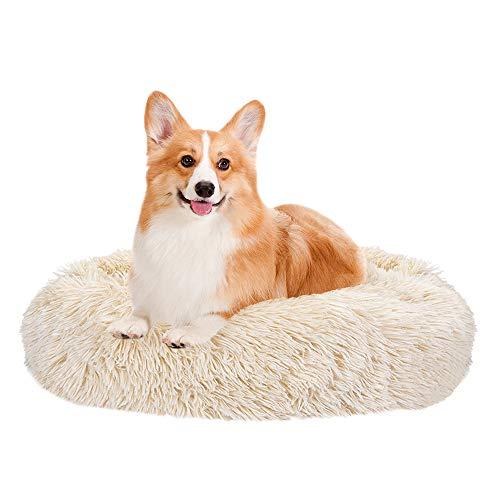 SlowTon lugnande säng för husdjur, munkformat mysbo varm mjuk plysch hund katt kudde med mysig svampbotten halkfri för små medelstora husdjur sova inomhus, maskintvättbar 40 cm / 50 cm / 60 cm / 70 cm