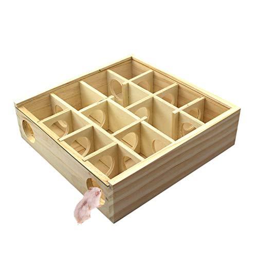 Modaily Hölzernes Labyrinth-Spielzeug 13 Gitter-Hamster-Tunnel-Labyrinth-Haus für kleines Haustierspielzeug