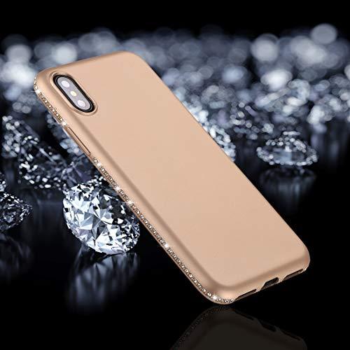 FURONGSHU MobilePhone & Cover NYTB voor iPhone Caso van Cristallo Decor Sides Mol van TPU-kunststof/XS (zwart), goud.