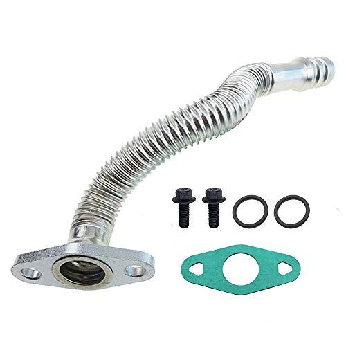 Turbo Oil Return Tube Replacement Set for Cummins 6.7L Diesel Engine, 2007.5-2018 Dodge Ram 2500 3500 4500 5500 Trucks, Fix Oil Leaks from Turbo Drain Tube, Part Number 68005450AA 904-350
