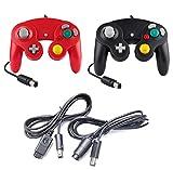 DARLINGTON & Sohns - Controlador de 2 piezas negro y rojo + cable de extensión para Nintendo Game Cube Controller negro GC extensión Nintendo Wii Cable