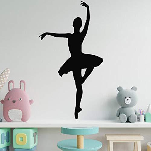 Vcnhln Calcomanías de Pared de Ballet para decoración de Dormitorio de niñas calcomanías de Arte de Vinilo 104X57cm