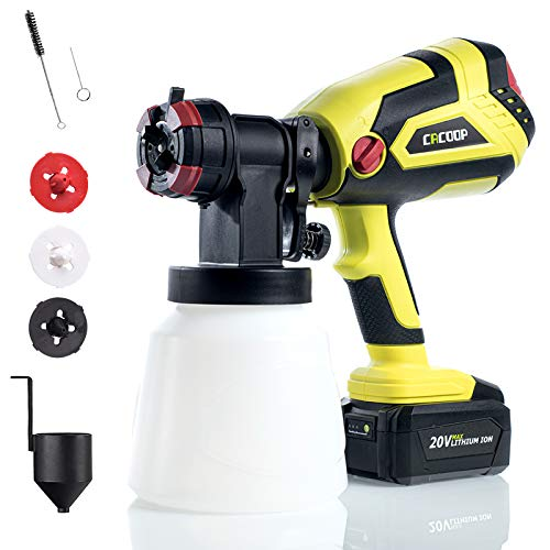 CACOOP Cordless Paint Sprayer Gun with 4.0Ah Battery and Rapid Charger,20V MAX Battery Powered HVLP Wireless Paint Sprayer Tool Kit for for Fence, Cabinet and Furniture