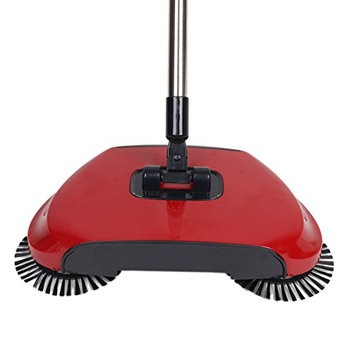 Household Automatic Hand Push Sweeper Broom without Electricity Multi-Functional Profession Vacuum Cleaner Sweeping Robot ,Dustpan and Trash Bin 3 in 1 Floor Cleaning System(red)