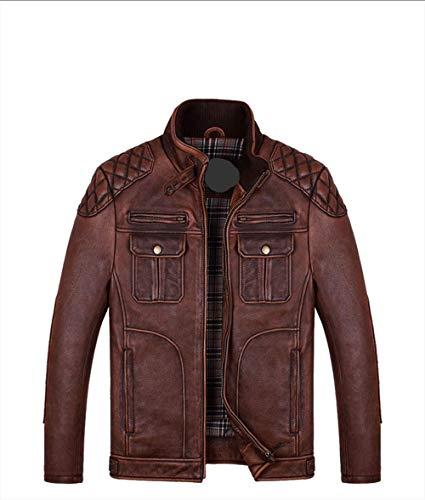 XSQR echt lederen kleding mannen vrije tijd staande kraag eerste laag rundleer retro motorkleding lederen jas jas donker bruin
