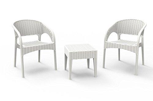 resol set de jardín exterior de 2 sillones y 1 mesa auxiliar Bahia - color blanco
