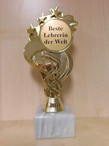 Fanshop Lünen Pokal - Geschenk - Beste Lehrerin der Welt - Geburtstag - Sportpokal - Gr. 19,5 cm, (Gold) - Trophäe - mit Gravur - (A333)