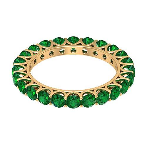 Rosec Jewels 10 quilates oro amarillo redonda Green Emerald
